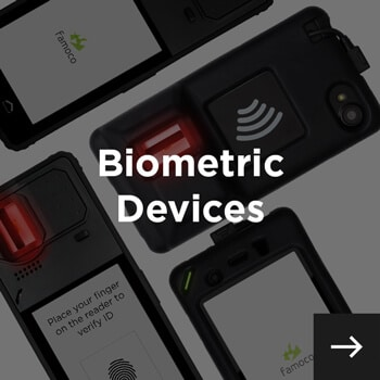 biometric devices displayed diagonally and biometric device written in white text