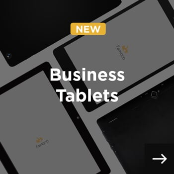business tablets displayed diagonally and business tablets written in white