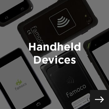 handheld devices displayed diagonally and handheld devices written in white