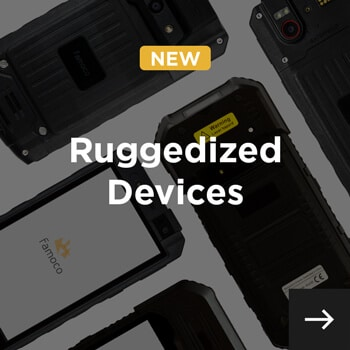 ruggedized displayed diagonally and ruggedized devices written in white