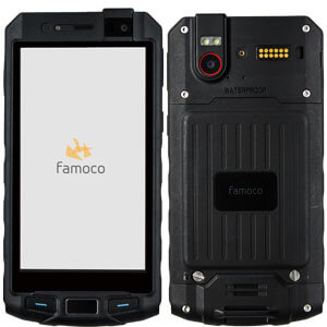 front and back view of Famoco PX310, a ruggedized Android-based device with 4G, 13mp camera and 5000mah battery