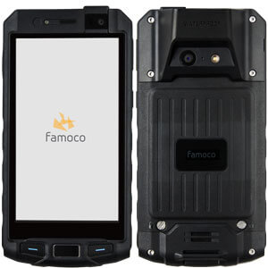 front and back view of Famoco PX320, a ruggedized Android-based device with 4Gn 13mp camera, 5000mah battery and a laser head scanner