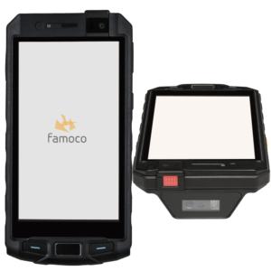 front and side view of Famoco PX320, a ruggedized Android-based device with 4Gn 13mp camera, 5000mah battery and a laser head scanner