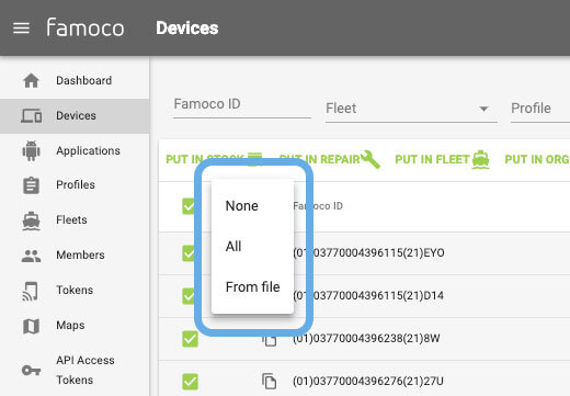 New dropdown list from devices section in Famoco MDM