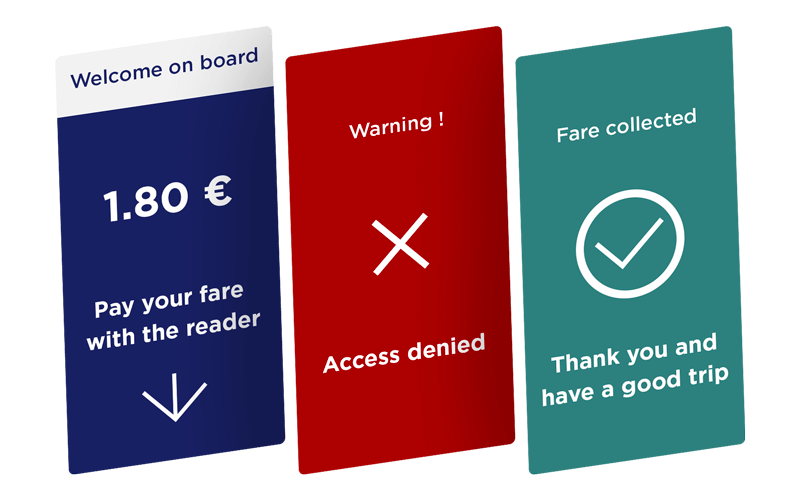 Display any information to your passengers on your validator in your transport networks