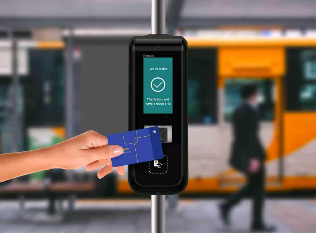 FX915, a android transport validator accepting NFC cards and QR code tickets.